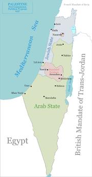 Il piano di spartizione suggerito dalla Commissione Peel nel 1937. Secondo il rapporto della commissione c'erano 225 000 arabi nel territorio del possibile stato ebraico e 1 250 ebrei in quello del possibile stato arabo.[18]