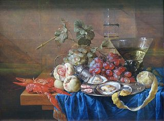 Nature morte au vase avec fruits et fruits de mer