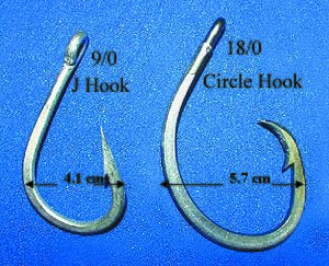Circle hook - Difference between a traditional J-hook (left) and a circle hook (right)