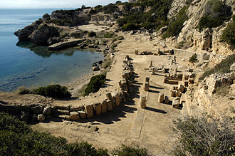 Heraion of Perachora - Overview of the lower sanctuary looking west with the L-shaped stoa in foreground and the temple of Hera Akraia?