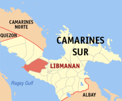 Map of Camarines Sur with Libmanan highlighted