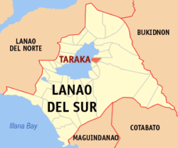 Map of Lanao del Sur with Taraka highlighted