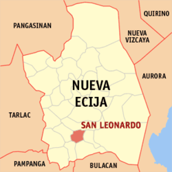 Map of Nueva Ecija showing the location of San Leonardo.