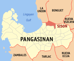 Map of Pangasinan with Sison highlighted