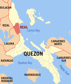 Bản đồ của Quezon showin the location of Real.