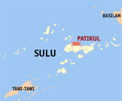 Map of Sulu with Patikul highlighted