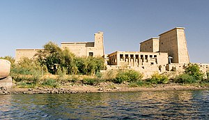 Philae temple on Agilkia Island as seen from t...