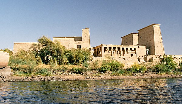 Philae temple on Agilkia Island as seen from the Nile