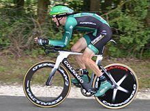 Photographie présentant Pierre Rolland, huitième du Tour 2012.