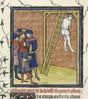 Pierre de la Broce - Pierre de La Brosse hanged, in a ms of Chroniques de France (B.L. Royal 20 C VII f. 15