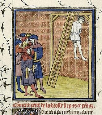 Pierre de la Broce - Pierre de La Brosse hanged, in a ms of Chroniques de France (B.L. Royal 20 C VII f. 15
