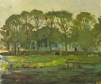 Piet Mondriaan - Farmhouse along the water shielded by arch of trees II - A349 - Piet Mondrian, catalogue raisonné.jpg