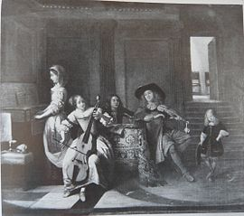 A Musical Company of Four Figures with a Small Boy Dancing