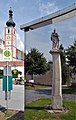 Pillory Geras reflected in bus stop by Lisa Holzer, Geras 01.jpg