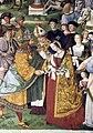 Pinturicchio, liberia piccolomini, 1502-07 circa, Enea Silvio, vescovo di Siena, presenta Eleonora di Portogallo all'imperatore Federico III 08.JPG