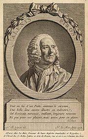 Le poète dijonnais Alexis Piron (1689 - 1773) collabora avec Rameau pour plusieurs opéras-comiques et introduisit le musicien auprès du fermier général la Pouplinière qui devint son mécène<br/><br/>Portrait gravé en 1773 par Noël Le Mire<br/>d après un dessin de Nicolas-Bernard Lépicié<br/>