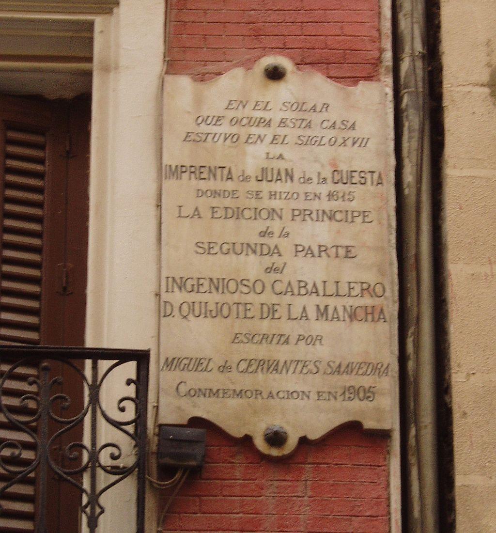 Placa conmemorativa de la 1ª edición de la 2ª parte de El Quijote en 1615