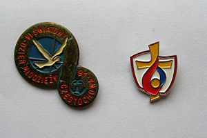 World Youth Day 2016 - Badges with symbols of World Youth Day 1991 and 2016