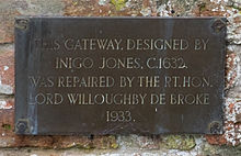 Plaque on the Peyto Gateway - St. Giles Church, Chesterton.jpg