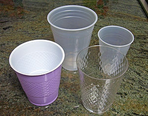 Assortment of disposable plastic cups