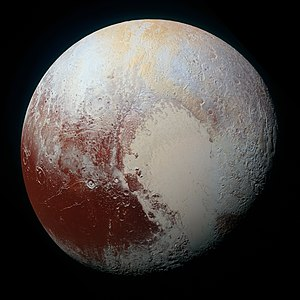 Pluto - High-resolution MVIC image of Pluto in enhanced color to bring out differences in surface composition