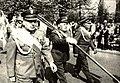 Poczet sztandarowy prudnickich kombatantów 1 maja 1986.jpg