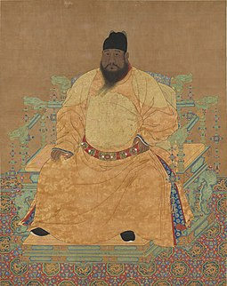 The Xuande Emperor (r. 1425-35); he stated in 1428 that his populace was dwindling due to palace construction and military adventures. But the population was rising under him, a fact noted by Zhou Chen - governor of South Zhili - in his 1432 report to the throne about widespread itinerant commerce. Portrait assis de l'empereur Ming Xuanzong.jpg