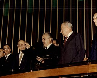 José Sarney - Sarney takes the oath of office as Vice-President of Brazil on March 15, 1985, immediately becoming Acting President