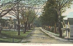 View of a street in Higganum, from a postcard mailed in 1909