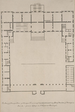 Montagu House, Bloomsbury - A plan of Montagu House from Colen Campbell's Vitruvius Britannicus.