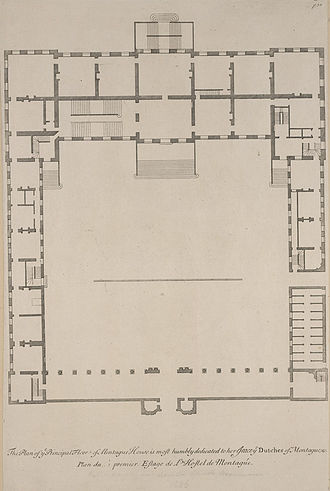 Montagu House, Bloomsbury - A plan of Montagu House from Colen Campbell's Vitruvius Britannicus.