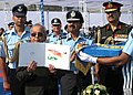 Pranab Mukherjee releasing the First day Cover of 501 Signal Unit and 30 Squadron during President's Standard presentation, at Air Force Station, Ambala, in Haryana.jpg