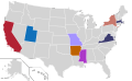 Presidential Candidate Home State Locator Map, 1960 (United States of America) (Expanded).png