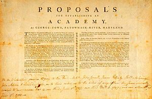Georgetown University - John Carroll published his proposals for a school at Georgetown in 1787, after the American Revolution allowed for the free practice of religion.