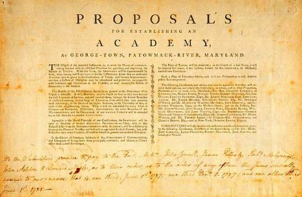The proposal for a school at Georgetown was conceived in 1787, after the American Revolution allowed for the free practice of religion. Proposal to establish George-Town Academy (Georgetown University) - 1787.jpg