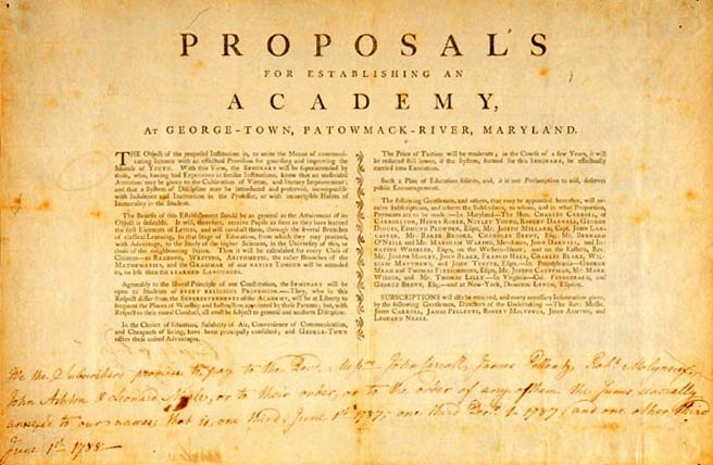 Proposal to establish George-Town Academy (Georgetown University) - 1787