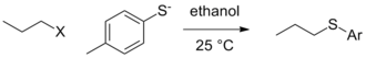 Leaving group - Image: Propyl halide toluene thiolate reaction