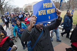 January 2018 United States federal government shutdown - AFGE members protesting for the federal employees affected by the shutdown