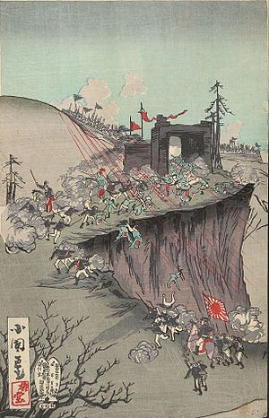 Pyongyang Castle - Print shows Japanese officers looking at maps and reviewing progress of battle taking place outside the fortress at Pyongyang.
