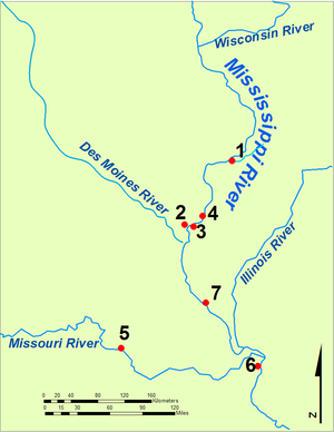 Quashquame - Map of important locations in Quashquame's life. 1: Saukenuk Village, 2: Montrose Village, 3. Nauvoo Village, 4. Fort Madison,  5. village near Rocheport, 6. Saint Louis, 7. burial site opposite Clarksville.