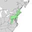 Quercus ilicifolia range map 1.png