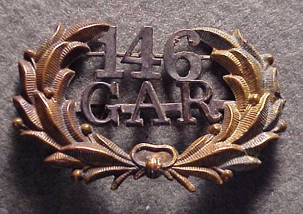 "G.A.R. Uniform Hat Badge from Post No. 146, ""RG Shaw Post"", established by surviving members of the 54th Massachusetts Regiment in 1871 (R. Andre Stevens Civil War Collection) RGShawGARPost146.jpg"