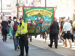 English: June 30 pensions trike marchers in Br...