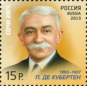 "Pierre de Coubertin - Pierre de Coubertin on a 2013 Russian stamp from the series ""Sports Legends"""