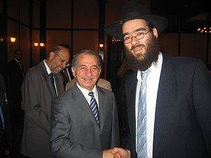 History of the Jews in Cyprus - Arie Zeev Raskin, rabbi of Larnaca Synagogue, with the former President of Cyprus, Tassos Papadopoulos