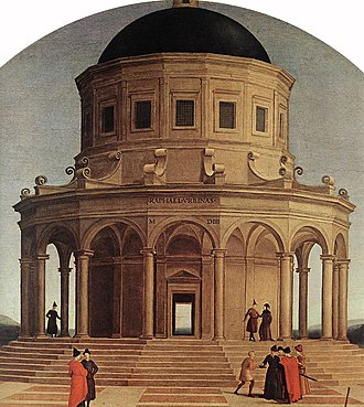 Hexadecagon - The hexadecagonal tower from Raphael's ''The Marriage of the Virgin''