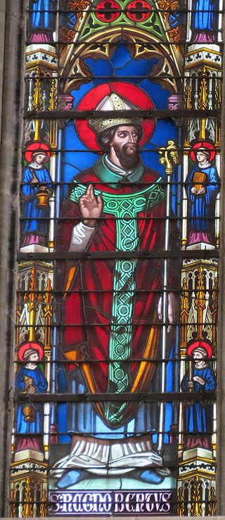 Den hellige biskop Regnobert av Bayeux, glassmaleri av Thévenot i katedralen Notre-Dame i Bayeux (1848)