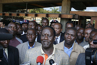 History of Kenya - Orange Democratic Movement leader Prime Minister Raila Odinga speaking with the Kenyan media.