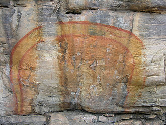 "Rainbow Serpent - Australian Aboriginal rock painting of the ""Rainbow Serpent""."