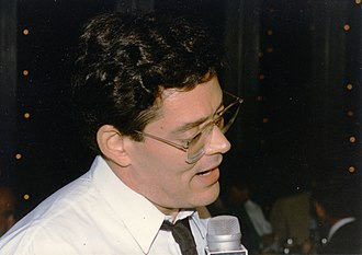 Raul Julia - Julia at the cast party on the opening night of Design for Living